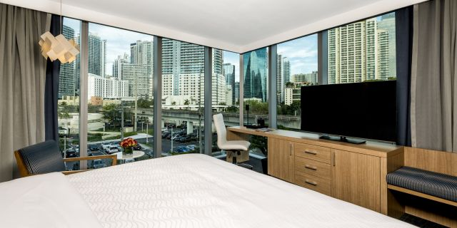 king bed guest room at Atton Brickell Miami