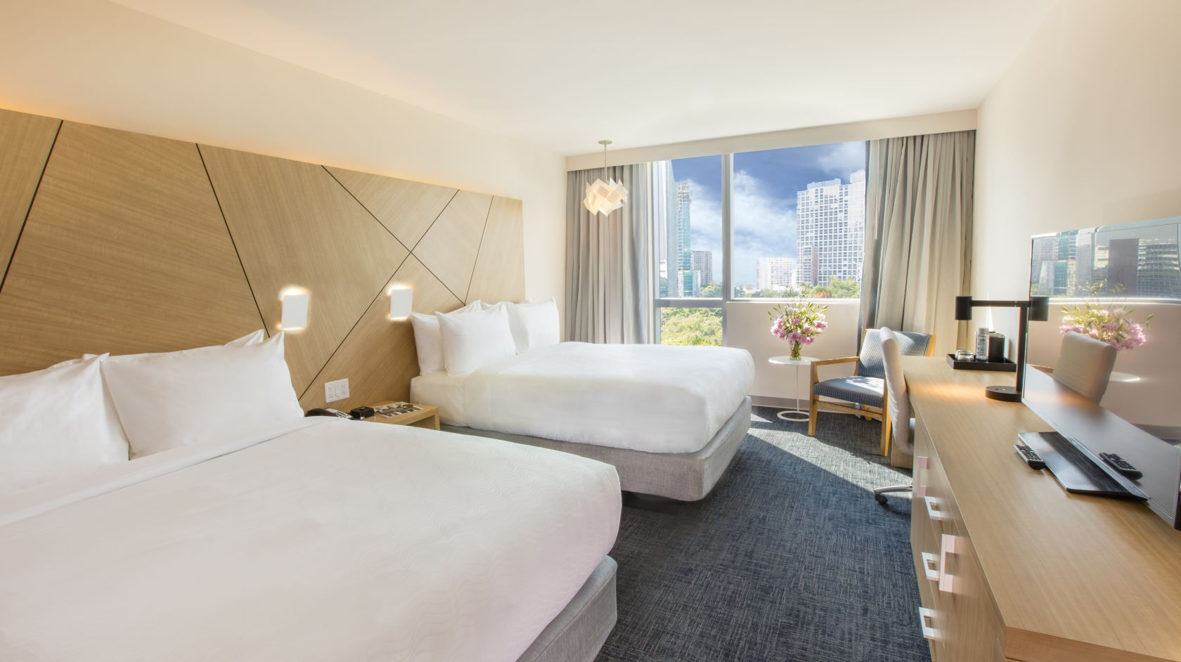 double queen room at Atton Brickell Miami Hotel
