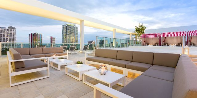lounge at our rooftop at Atton Brickell Miami hotel