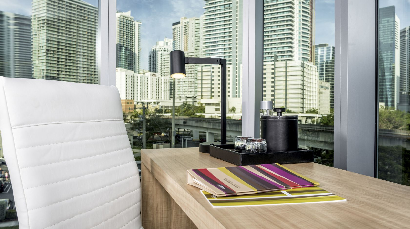 guest room work desk at Novotel Miami Brickell