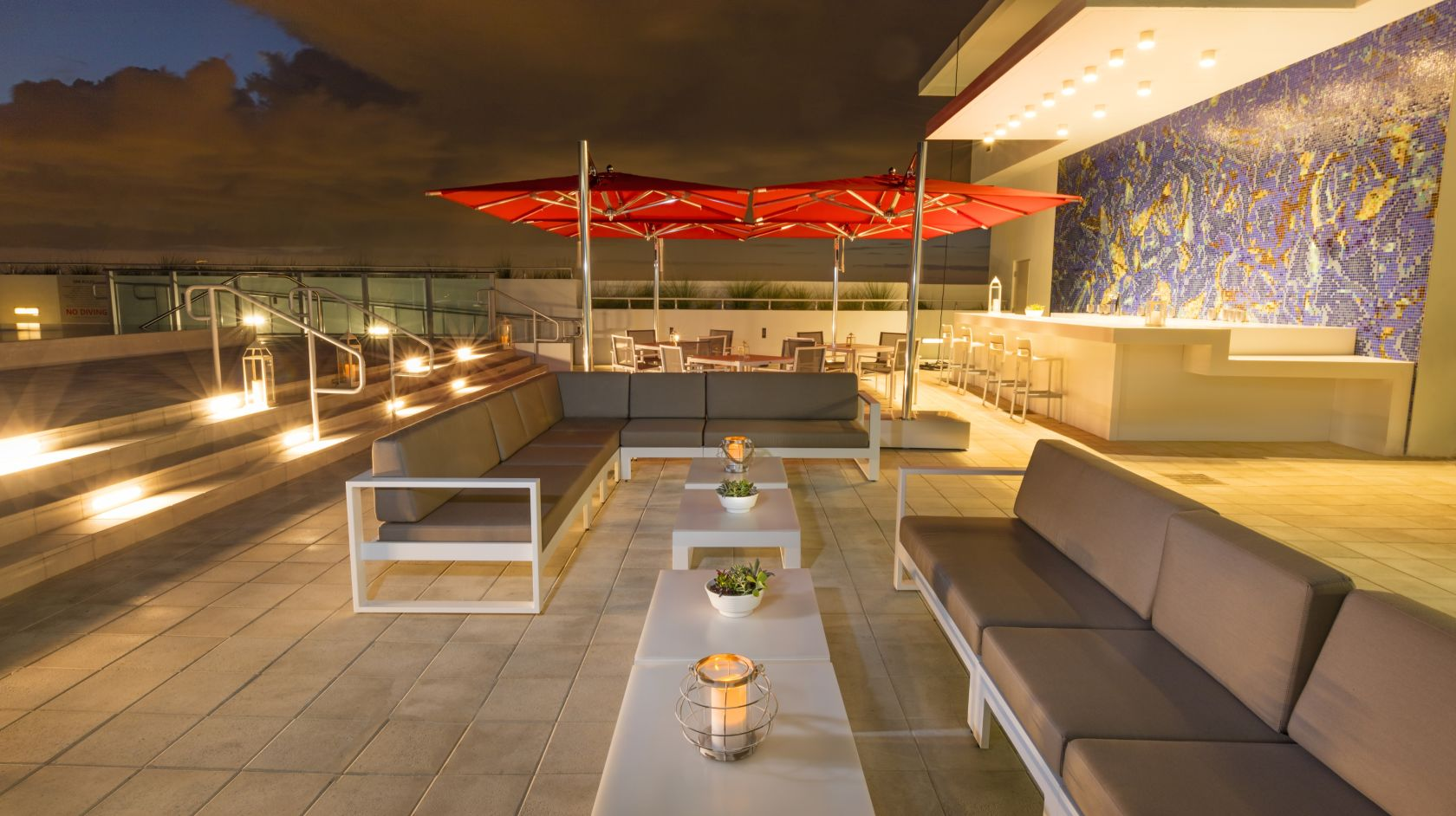 Novotel Miami Brickell hotel rooftop at night